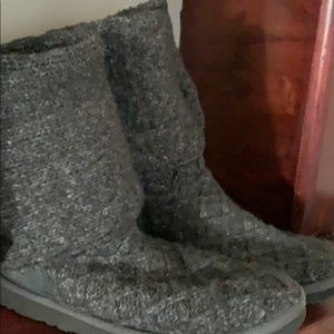 UGG  8 Grey Lattice Button Sweater Tall Boot